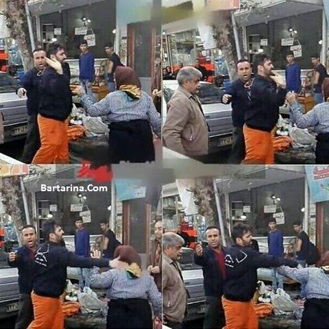 فیلم سیلی خوردن زن دست فروش توسط مامور شهرداری فومن