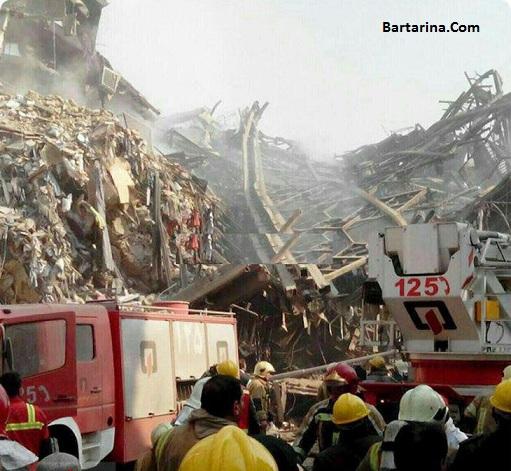 فیلم لحظه فرو ریختن ساختمان پلاسکو تهران بر اثر آتش سوزی