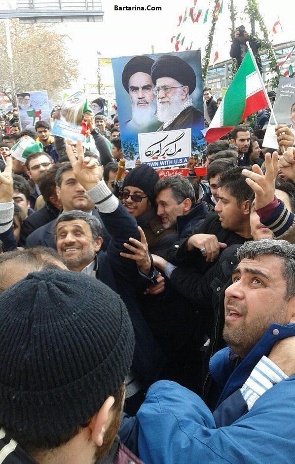 فیلم حضور احمدی نژاد در راهپیمایی 22 بهمن 95 + حاشیه