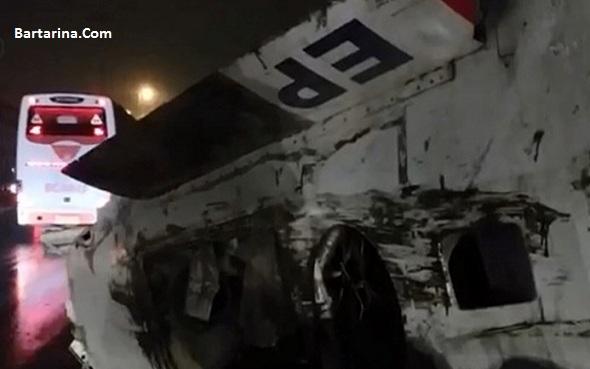 فیلم سقوط هواپیما جت جنگی از روی تریلی زیر پل حصارک کرج