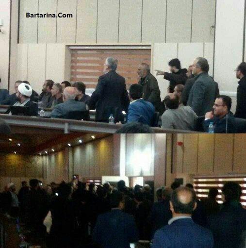 فیلم درگیری و اعتراض در مراسم معارفه آجدانی فرماندار آمل