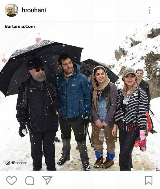 عکس یادگاری روحانی با دختران بی حجاب در کوهنوردی تهران