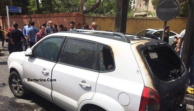فیلم آتش سوزی ماشین امین زندگانی در خیابان شریعتی تهران