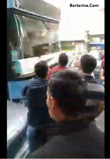 فیلم اتوبوس جنجالی اسلامشهر که باعث تصادف چند ماشین شد