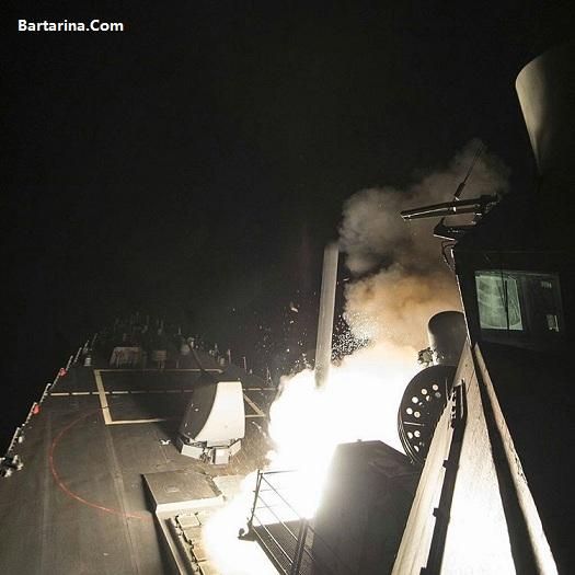 فیلم حمله موشکی آمریکا به سوریه بامداد جمعه 18 فروردین 96