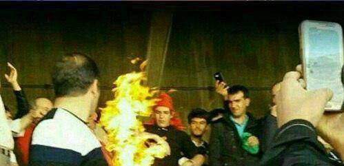 فیلم آتش زدن پرچم پرسپولیس در تبریز با قهرمانی 26 فروردین 96