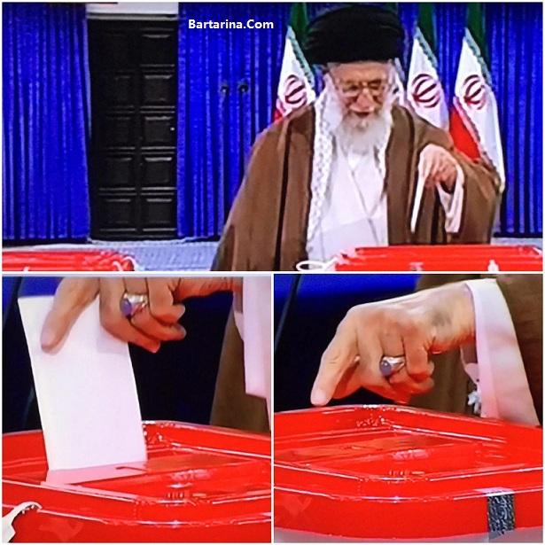 عکس انگشتر بنفش رهبر انقلاب هنگام رای دادن پای صندوق