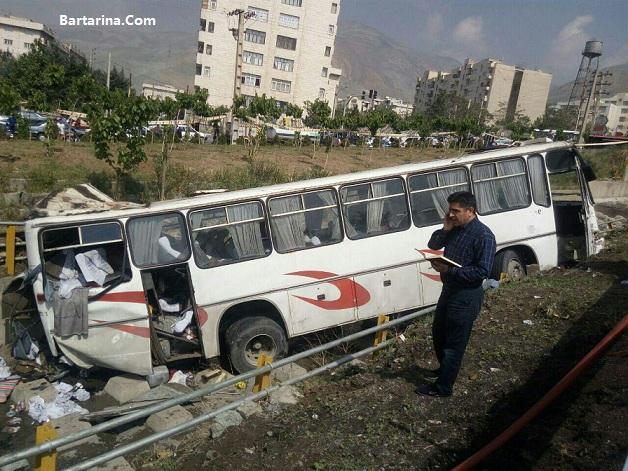 فیلم سقوط اتوبوس دانش آموزان به کانال بهرود 16 اردیبهشت 96