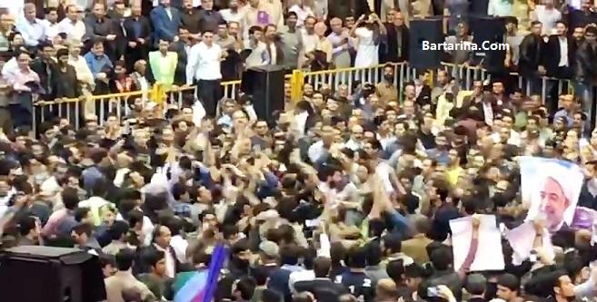 فیلم دعوا و درگیری بین هواداران روحانی و رئیسی در قم