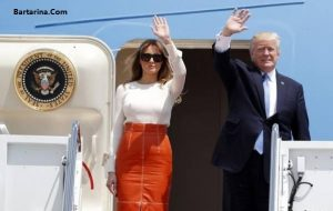 عکس جنجالی عوض کردن لباس ملانیا ترامپ در هواپیما عربستان