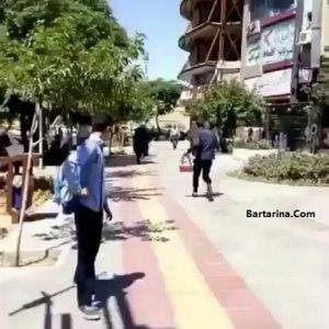 فیلم دنبال کردن آخوند توسط یک جوان و فرار آخوند + دستگیری