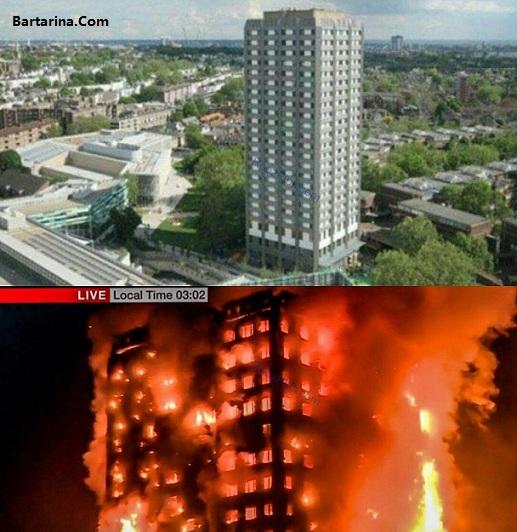 فیلم آتش سوزی برج 27 طبقه مسکونی لنکستر لندن شبیه پلاسکو