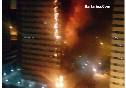فیلم آتش سوزی برج 20 طبقه پامچال دریاچه چیتگر تهران