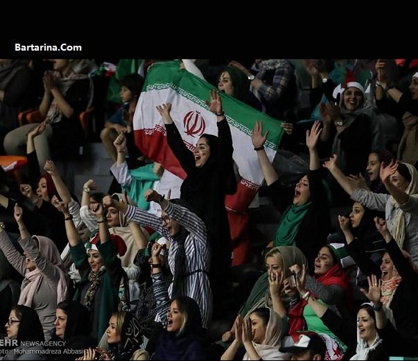 فیلم حضور زنان و دختران ایرانی در بازی والیبال ورزشگاه آزادی