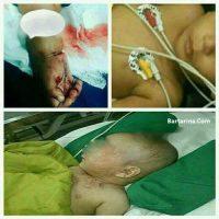کودک آزاری پسر ۱۵ ماهه با چاقو در ایزدآباد سیرجان + عکس