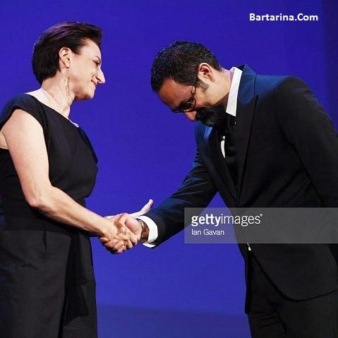 فیلم دست دادن نوید محمدزاده و جلیلوند با زن در جشنواره ونیز