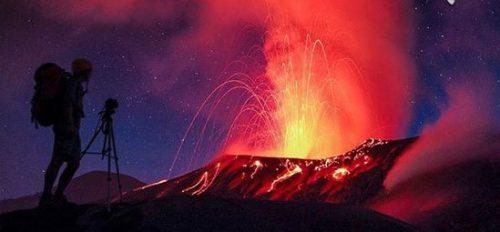 تصاویر شگفت انگیز از دهانه آتشفشان