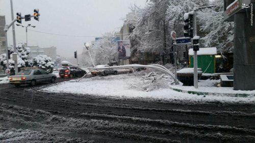 خم شدن تیر چراغ برق در اثر بارش شدید برف در تهران