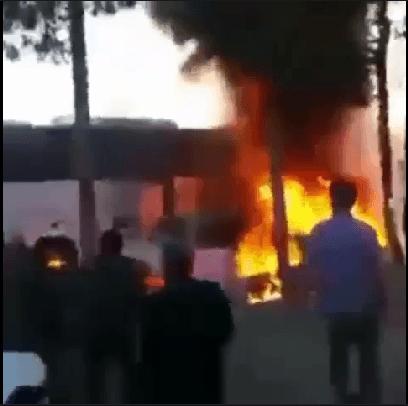 فیلم آتش سوزی در اتوبوس پر از مسافر